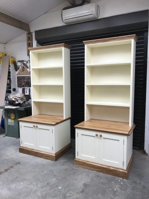 Desk Cabinets with Oak Tops.