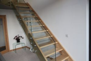 Open tread oak staircase