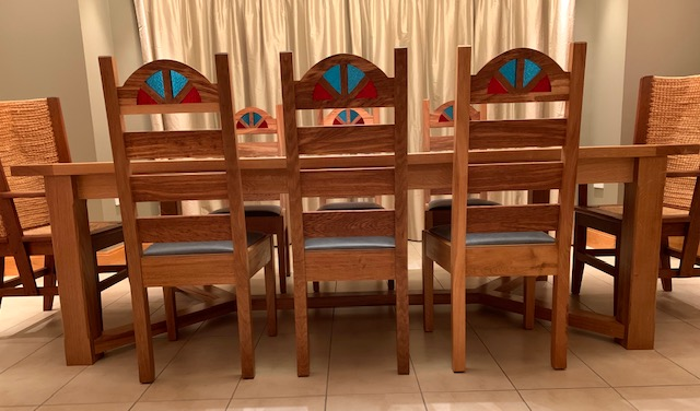 Scottish Oak dining table, Chairs and sideboard