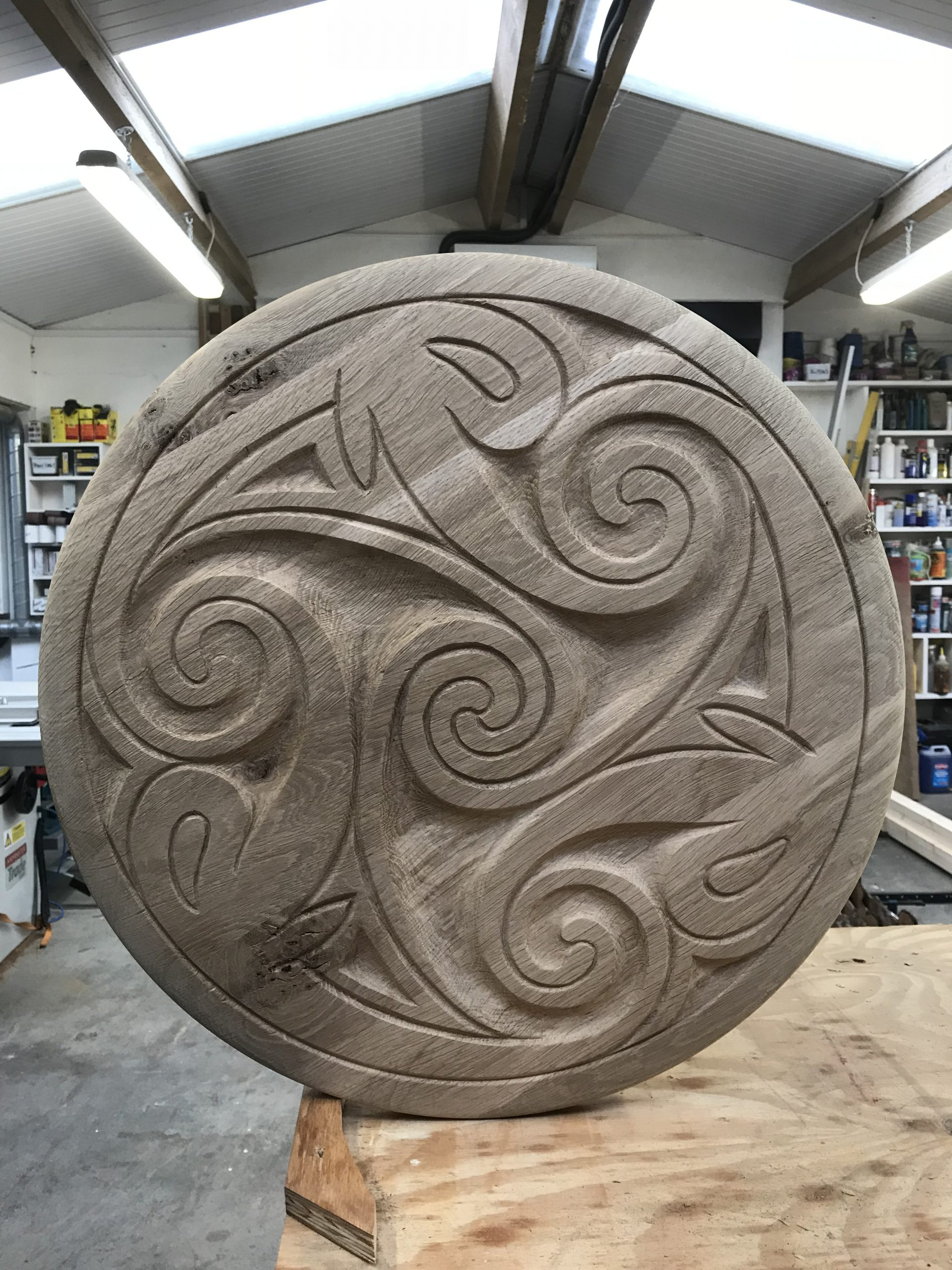 Hand Made Oak Ceiling Rose Carving.