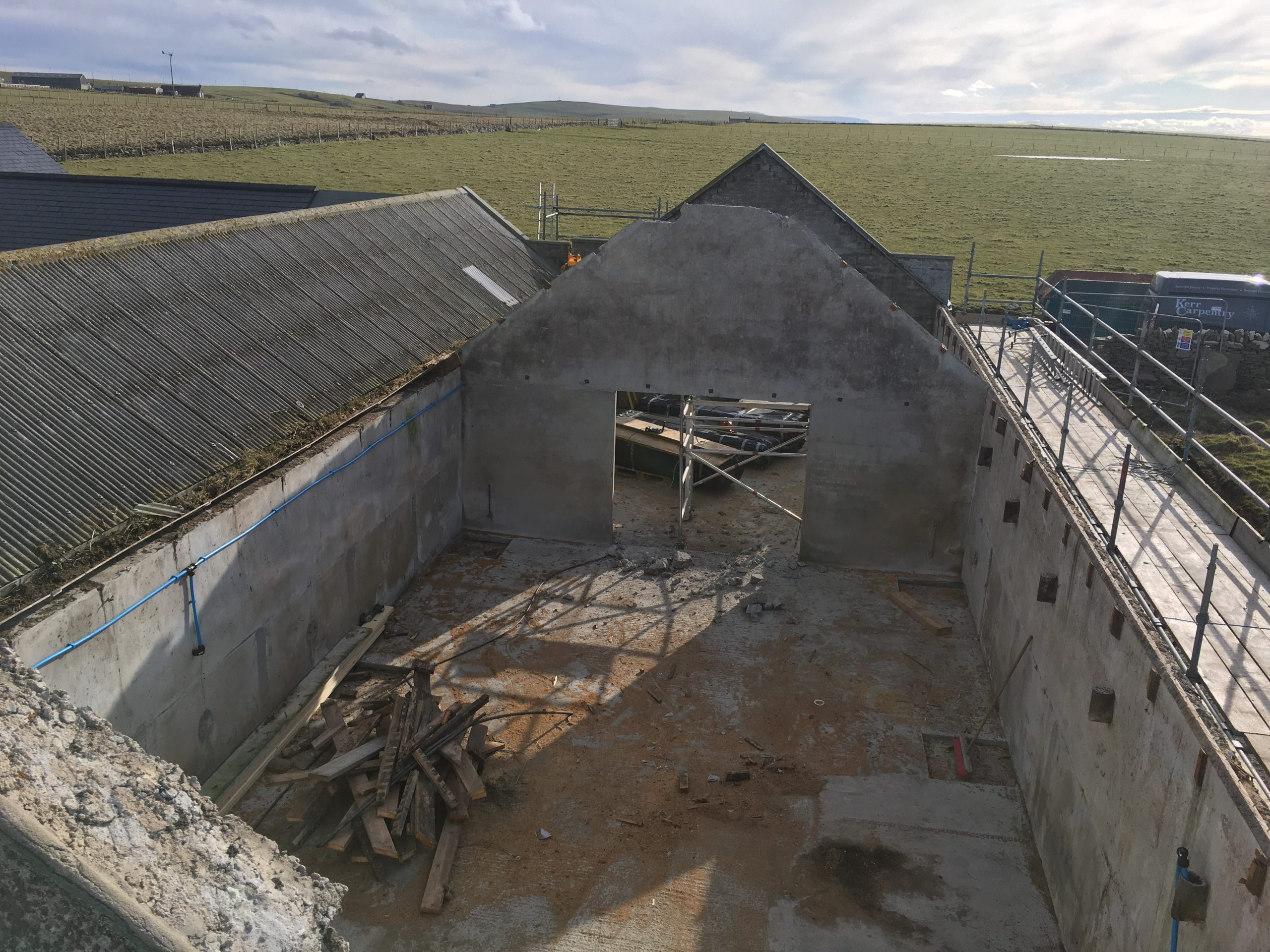 Old Roof Removed From Outbuilding.