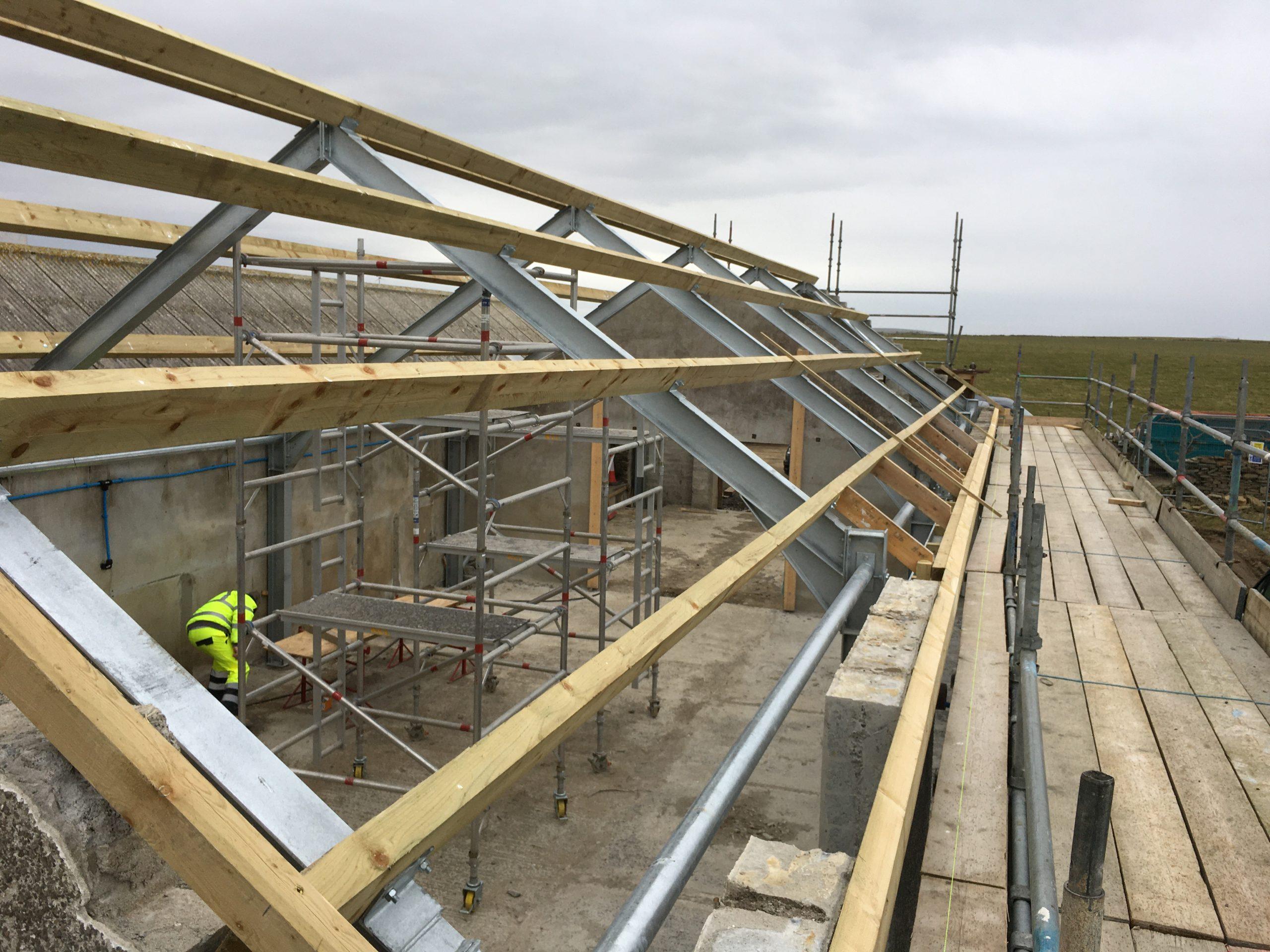 Steel Frame Building Under Construction.